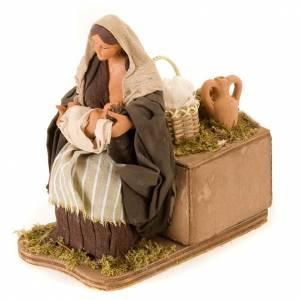 Animated nativity scene,  mother feeding baby 14 cm s2
