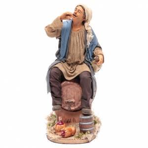 Neapolitan Nativity Scene: Animated Neapolitan Nativity figurine Drunkard on cask 30cm