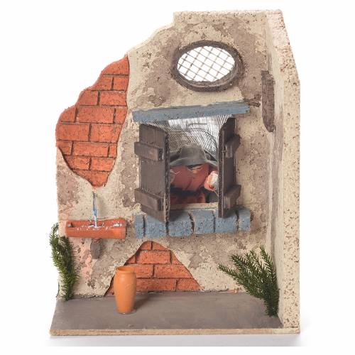 Animated Woman at the window 10cm Neapolitan Nativity s1