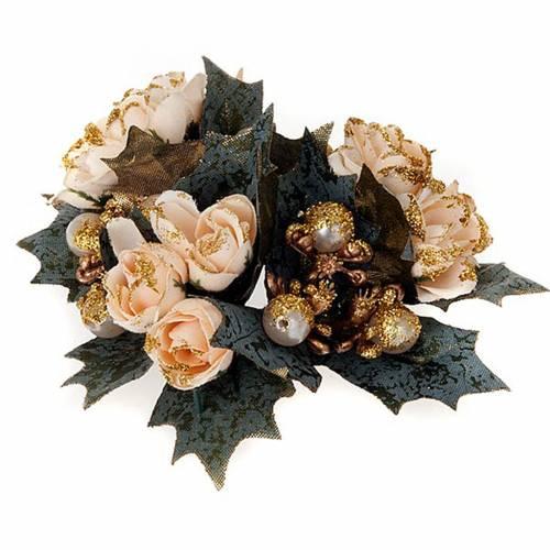 Anneau pour bougies roses et baies s1