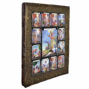 Antique Russian icon 12 Great Feasts with finfit enamel XX century s2