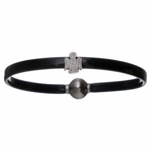 Armbänder AMEN: Armband AMEN Engel und Zirkonen Silber 925 Thermoplast schwarz