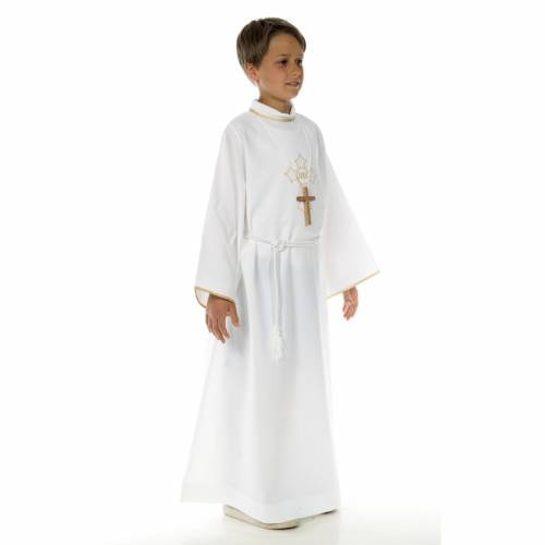 Aube communion avec croix brodée s3
