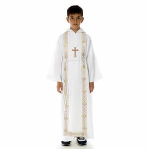 Aubes communion, profession de foi: Aube communion scapulaire bord or
