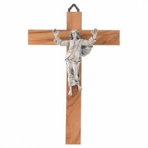 Kruzifixe aus Holz: Auferstandene Christus auf Olivenholz Kreuz Silber Finish.