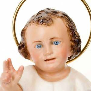 Baby Jesus in wood paste, 15 cm elegant finish s3