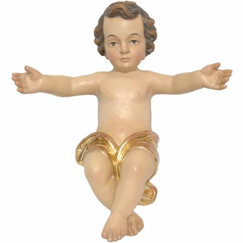 Baby Jesus made of Valgardena wood, antique gold finish s1