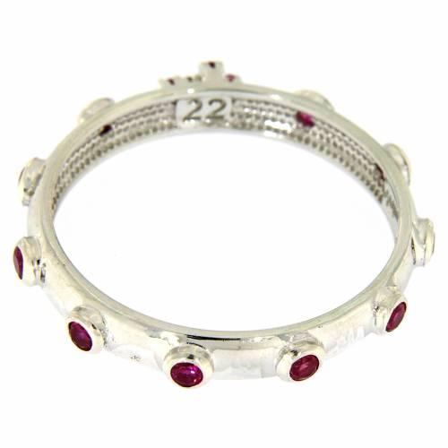 Bague chapelet AMEN argent 925 zircons rouges Rhodium s3