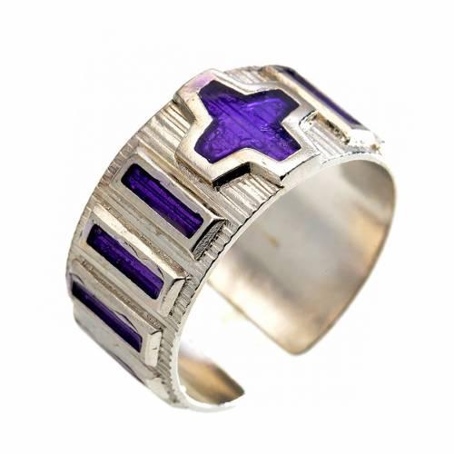 Bague dizainier argent émail violet s1