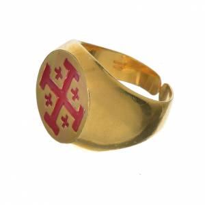 Bague évêque argent 800 doré croix Jérusalem s2