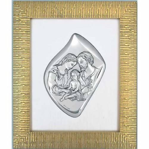 Bajorrelieve Sagrada Familia, plata y marco dorado s1