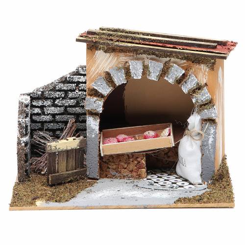 Baker's shop for nativities measuring 14x20x14cm s1