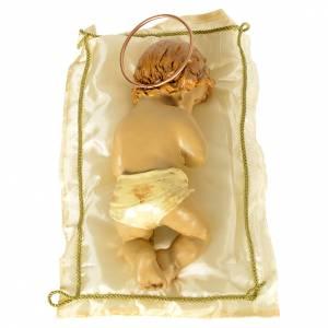 Bambinello con cuscino e aureola altezza 25 cm resina s2