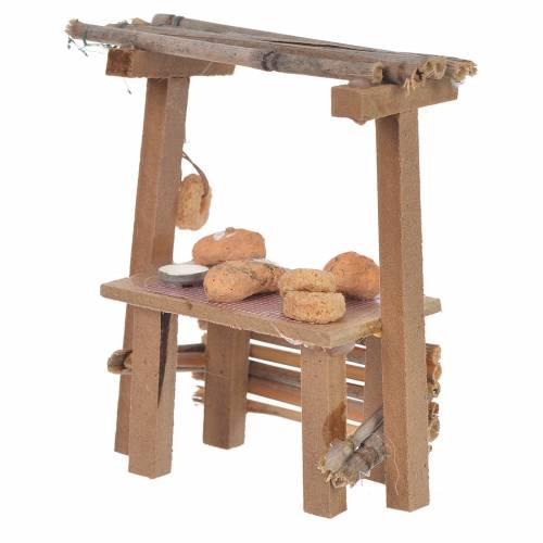 Banc bois pain cire crèche 9x10x4,5 cm s2