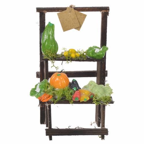 Banc vendeur de fruits cire crèche 13,5x8x5,5 cm s1