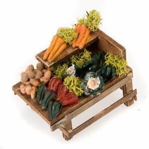 Presepe Napoletano: Banchetto legno verdura terracotta presepe