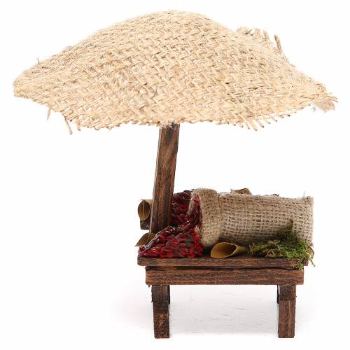 Banchetto presepe con ombrello peperoncini 16x10x12 cm s1