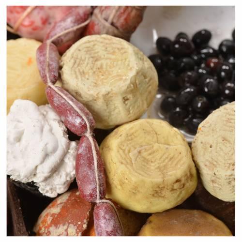 Banco pane formaggi salumi cera presepe 40x21x15 cm s7
