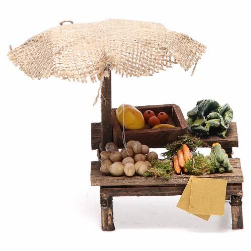 Banco presepe con ombrello verdure 12x10x12 cm s1