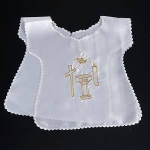 Baptism clothes and candles: Baptismal gown in satin, cross, dove, candle, font