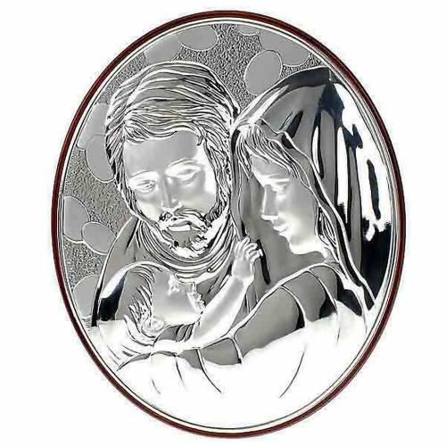 Bas relief  argent sainte famille, ovale s1