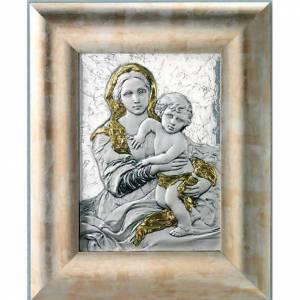 Bas reliefs en argent: Bas relief en argent 925 or vierge avec enfant