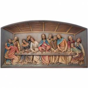 Bas-relief Last Supper painted wood Val Gardena s1