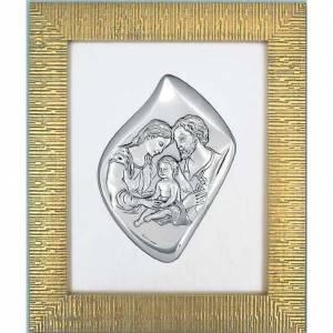 Bas-relief Sainte Famille argenté cadre doré s1