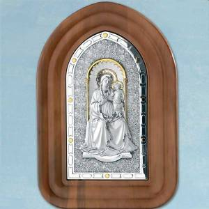 Bas-relief sterling silver, gold Our Lady and baby, wooden frame s1