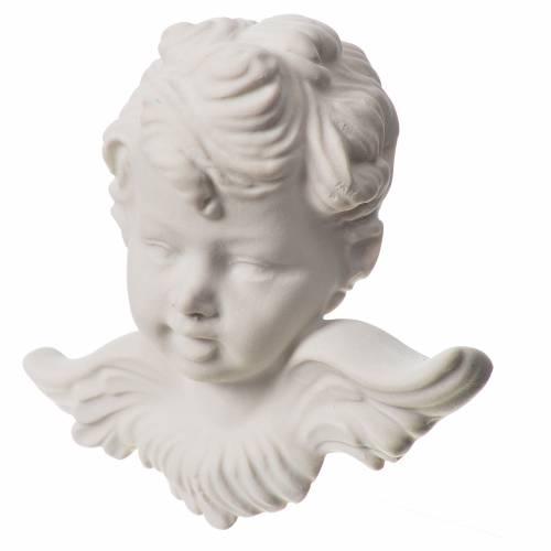 Bas relief tête d'ange 11 cm marbre blanc s2