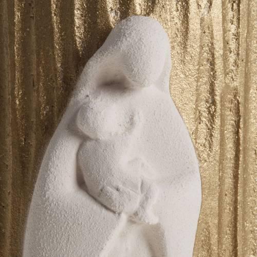 Bas relief Vierge avec enfant or argile 17.5 cm s2
