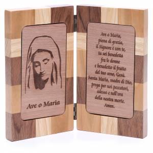 Statue Madonna di Medjugorje e immagini: Bassorilievo Ave Maria tre tipi di legno