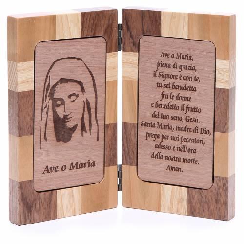 Bassorilievo Ave Maria tre tipi di legno s1