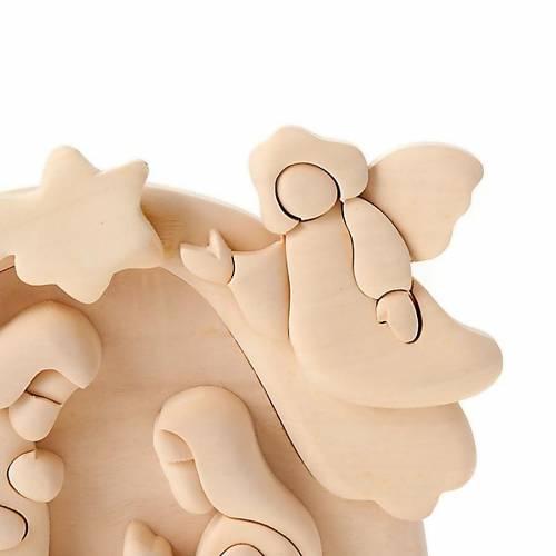 Bassorilievo legno Sacra Famiglia Angelo 20x15 cm s2