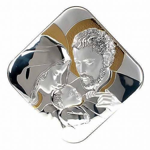 Bassorilievo bilaminato oro argento Sacra Famiglia quadrato s1