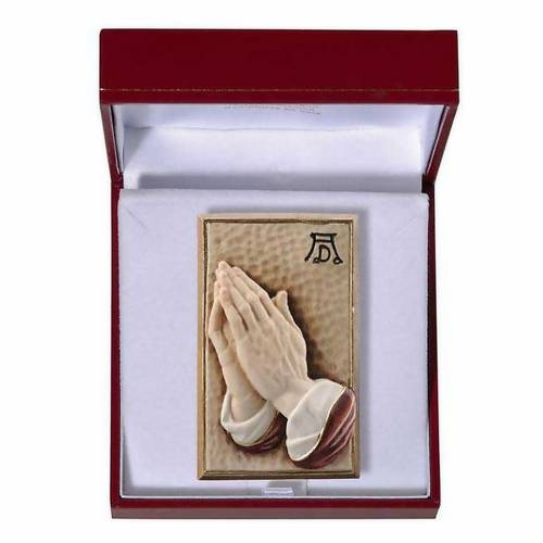 Bassorilievo legno dipinto mani giunte 8 cm s1