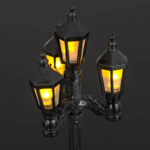 Battery powered street lamp with 4 lights, H11cm s5