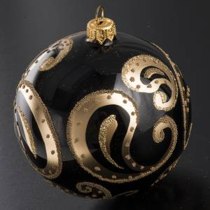 Bauble for Christmas tree, black and gold blown glass, 10cm s2
