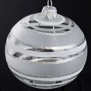 Christmas balls: Bauble for Christmas tree in blown glass, silver 8cm