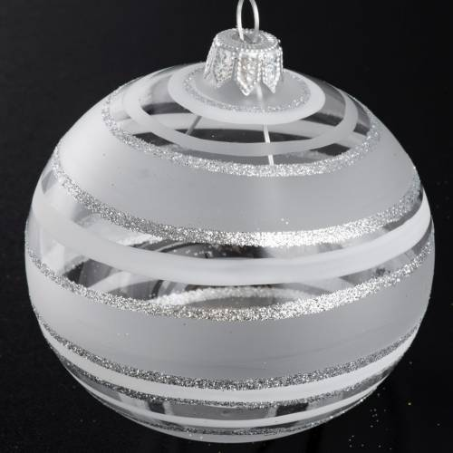 Bauble for Christmas tree in blown glass, silver 8cm s2