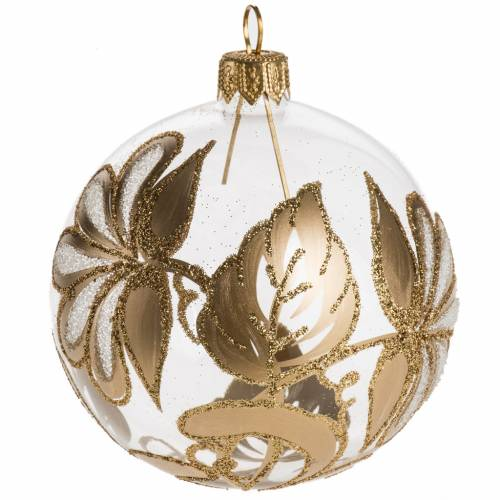 Bauble for Christmas tree in transparent and gold blown glass, 8 s1