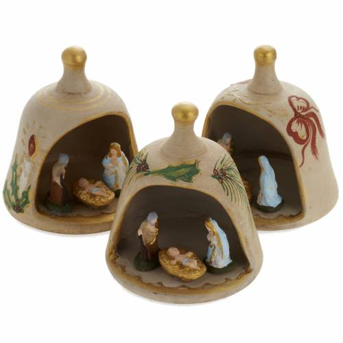 Bell in painted terracotta with nativity s1