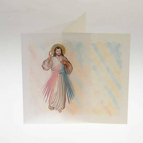 Biglietto d'auguri con pergamena immagine Gesù Misericordioso s2