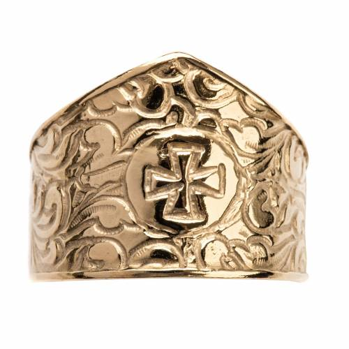 Bishop Ring in gold plated silver 800, cross decoration s6