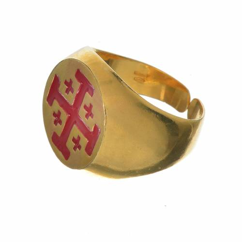 Bishop's ring, golden 800 silver with Jerusalem cross s2
