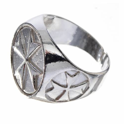 Bishop's ring in 800 silver with Maltese cross s2