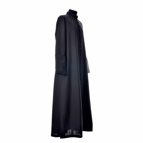 Black cassock in pure wool with covered buttons s4