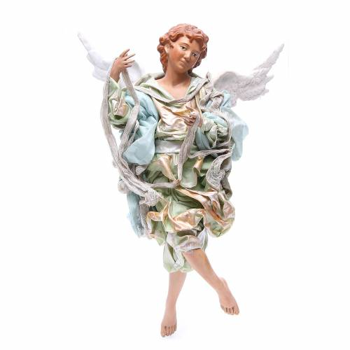 Blonde angel with green clothes, figurine for Neapolitan Nativity, 45cm s1