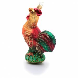 Blown glass ornaments: Blown glass Christmas ornament, rooster