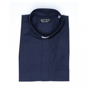 Blue short sleeves clergy shirt, cotton and polyester s4